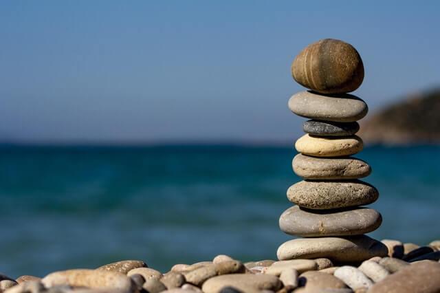 rocks in balance on beach